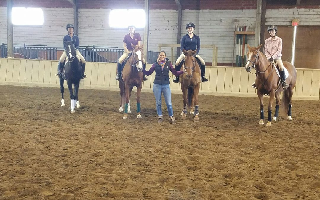 Molly Hunt with students at Stephens College in Columbio, MO after clinic.